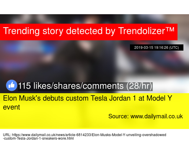 free shipping 4a5ac a241b Elon Musk s debuts custom Tesla Jordan 1 at Model Y event